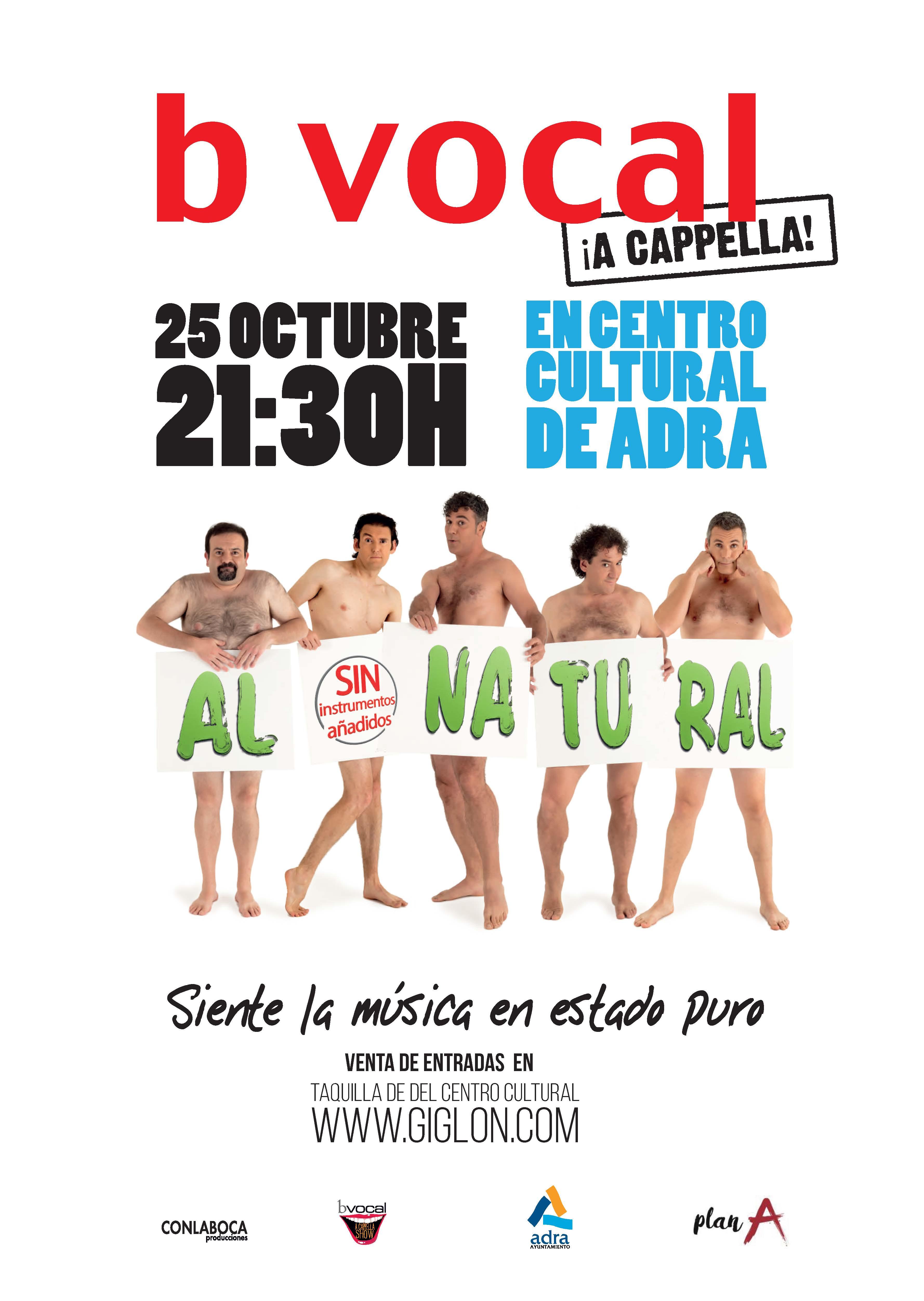 Photo of Llega a Adra el espectáculo de B Vocal 'Al natural, sin instrumentos añadidos' el 25 de octubre