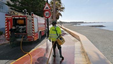 Photo of El Consorcio de Bomberos del Poniente colabora con el Ayuntamiento en la labor de desinfección de las calles